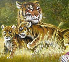 Tiger with cubs by Val Varetsa