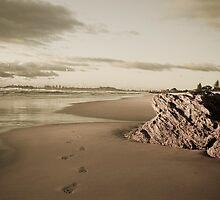 Sepia Toned Beach - Currumbin by Brad Walker
