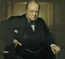 Winston Churchill, Prime Minister of UK, 1941  by Adam Asar
