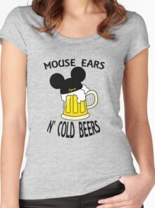 Mouse Ears N' Cold Beers Women's Fitted Scoop T-Shirt