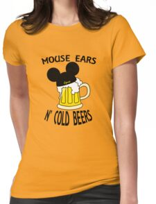 Mouse Ears N' Cold Beers Womens Fitted T-Shirt