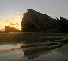 Sun warming up a winters morning on the beach - Currumbin Beach by Brad Walker