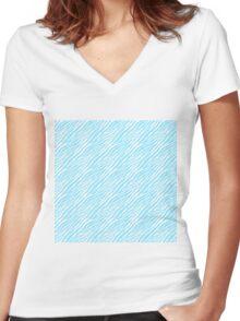 Blue Zebra Print Women's Fitted V-Neck T-Shirt