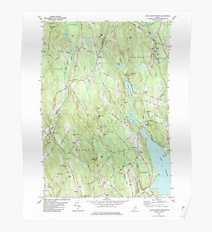 Maine USGS Historical Map Lake Auburn West 105274 1981 24000 Poster