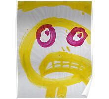Smile - Yellow With Fuchsia Eyes Poster