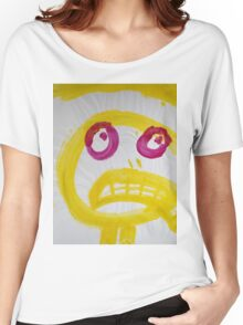 Smile - Yellow With Fuchsia Eyes Women's Relaxed Fit T-Shirt