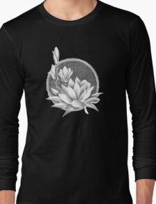 Japanese Style Magnolia Blossoms - Monochrome Long Sleeve T-Shirt