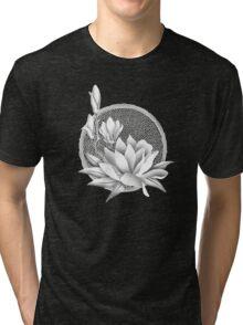 Japanese Style Magnolia Blossoms - Monochrome Tri-blend T-Shirt