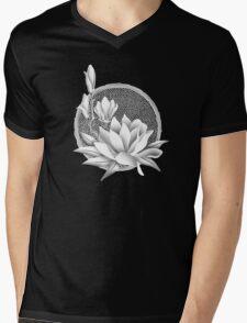 Japanese Style Magnolia Blossoms - Monochrome Mens V-Neck T-Shirt