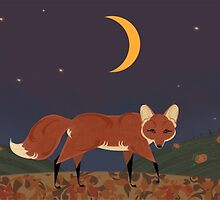 Red Fox in the Pumpkin Patch  by TLCampbell