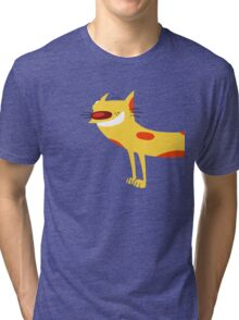 Catdog - Cartoon Cat Dog Funny Yellow Mustard Pet Silly Tri-blend T-Shirt