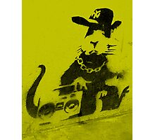 Banksy Gangsta Rat - Yellow Photographic Print