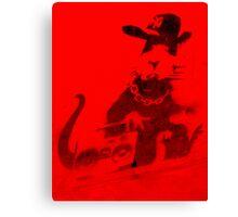 Banksy Gangsta Rat - Red  Canvas Print