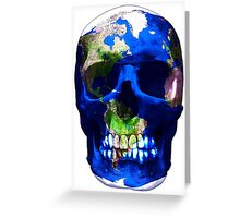 """LuxeMyth"" Human-Caused Climate Change Earth Skull  Greeting Card"
