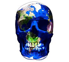 """""""LuxeMyth"""" Human-Caused Climate Change Earth Skull  Photographic Print"""