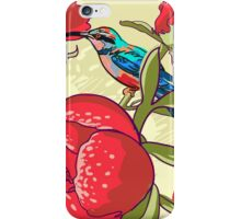 Seamless floral background with peonies bird iPhone Case/Skin