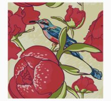 Seamless floral background with peonies bird One Piece - Short Sleeve