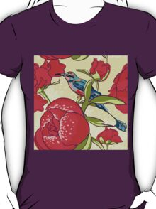 Seamless floral background with peonies bird T-Shirt