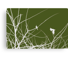 White and Green birds in trees Canvas Print