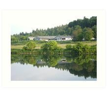 FarmHouse  on the river in Middlesex Vermont. Art Print