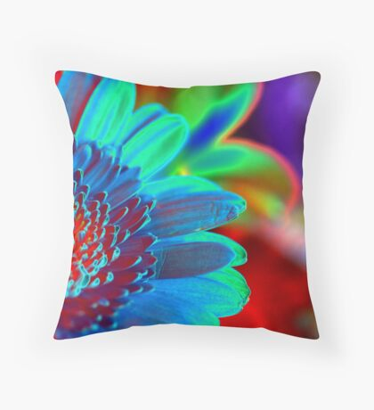solarized flowers Throw Pillow