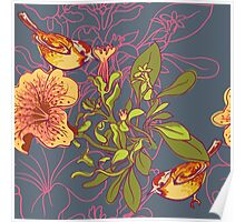 Seamless floral background with petunia Poster