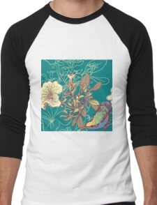 Seamless floral background with petunia Men's Baseball ¾ T-Shirt