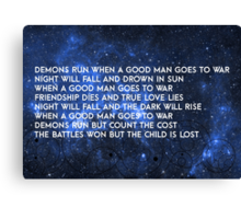 Doctor Who - Demons Run Canvas Print