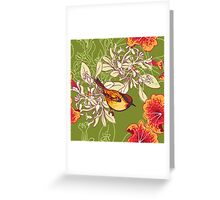 Seamless floral background with petunia Greeting Card
