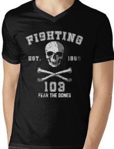 Fighting 103 Jolly Rogers - Warn Look Mens V-Neck T-Shirt