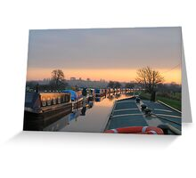 Sunset on the Shropshire Union Canal, Nantwich, England Greeting Card