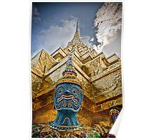 Temple & Monkey - Grand Palace, Bangkok Thailand Poster