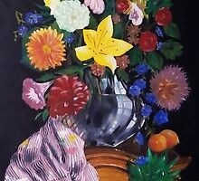 Aso-Oke and flowers- still-life by Oluwaseyi Alade