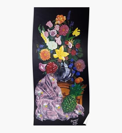 Aso-Oke and flowers- still-life Poster