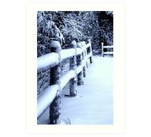 Snow on Fence Art Print