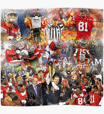 Ohio State Football 2015 National Champions Collage Poster