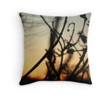Weeding out the Sunset Throw Pillow