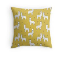 Alpaca - Mustard by Andrea Lauren Throw Pillow