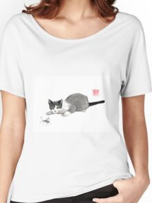 Silly cricket sumi-e painting. Women's Relaxed Fit T-Shirt
