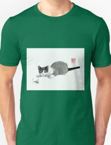 Silly cricket sumi-e painting. Unisex T-Shirt