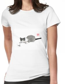 Silly cricket sumi-e painting. Womens Fitted T-Shirt