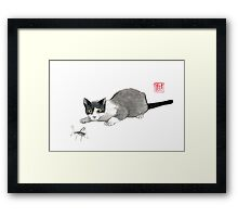 Silly cricket sumi-e painting. Framed Print