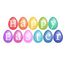 Happy Easter with colorful eggs Photographic Print