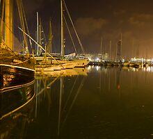 Barcelona Marina at night by Paul Thompson Photography