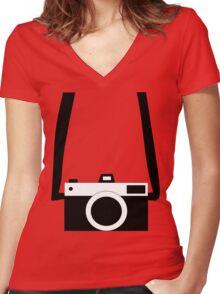 Black and White Camera  Women's Fitted V-Neck T-Shirt