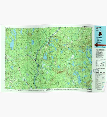 Maine USGS Historical Map Lincoln 808025 1985 100000 Poster