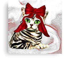 Red ribbon cat Canvas Print