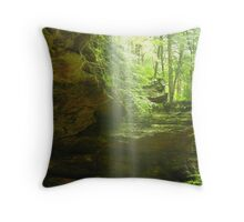 misty waterfall at ash cave Throw Pillow