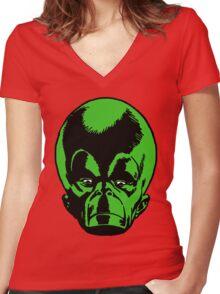 Big Green Mekon Head  Women's Fitted V-Neck T-Shirt