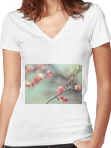Pink Ume Women's Fitted V-Neck T-Shirt